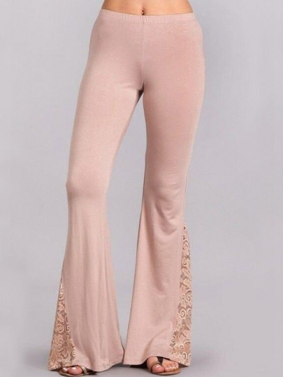 Pink Patchwork Lace High Waisted Flare Bell Bottom Vintage Long Pants