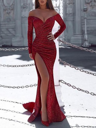 Red Irregular Sequin Glitter Sparkly Off Shoulder Backless Side Slit Long Sleeve Wedding Mermaid Banquet Party Maxi Dress