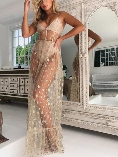 Apricot Star Sequin Grenadine Sheer Spaghetti Strap Banquet Prom Party Maxi Dress