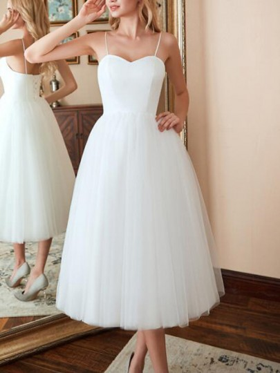 White Patchwork Grenadine Spaghetti Strap Backless Skater Homecoming Wedding Banquet Party Maxi Dress