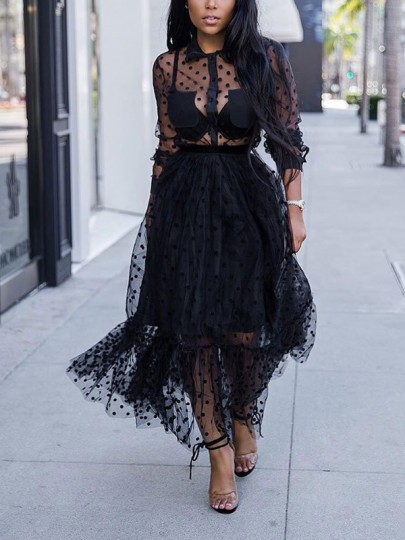 Black Polka Dot Patchwork Grenadine Sheer Tulle Party Maxi Dress