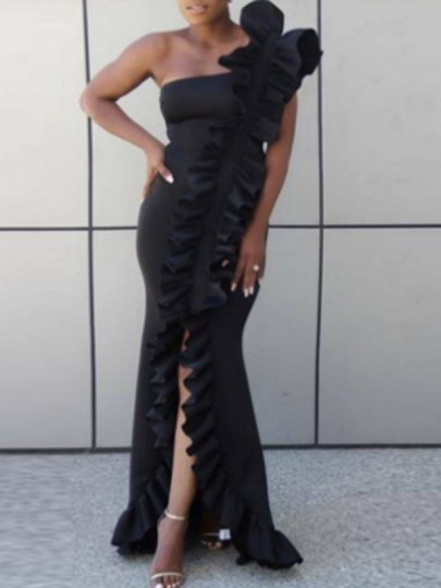 Black Ruffle Irregular One Shoulder Slit Mermaid Banquet Elegant Party Maxi Dress