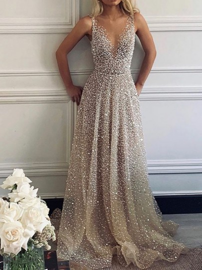 Silver Patchwork Sequin Grenadine Pleated Sparkly Glitter Birthday Prom Evening Party Maxi Dress