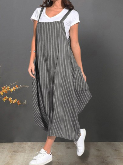 Grey Striped Sleeveless V-neck Fashion Maxi Dress