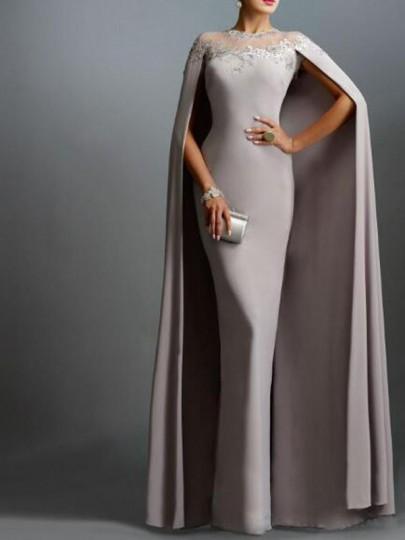 Robe longue cape de sirène en dentelle poitrine soirée banquet gris