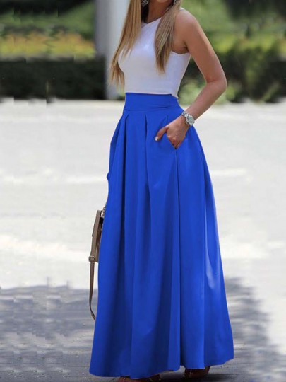 Blue Pleated Pockets Prom Evening Party Maxi Dress