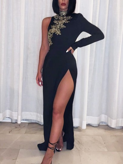 Black Patchwork Lace Asymmetric Shoulder Bodycon Thigh High Side Slits Prom Evening Party Maxi Dress