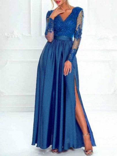 Blue Patchwork Lace Side Slit Deep V-neck Long Sleeve Cocktail Party Maxi Dress