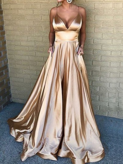 Golden Pleated Big Swing Spaghetti Strap V-neck Elegant Banquet Wedding Prom Maxi Dress