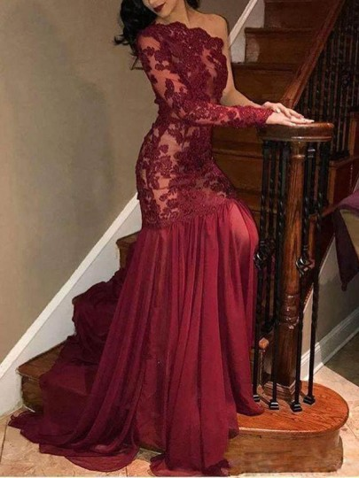 Red Patchwork Lace Pleated Asymmetric Shoulder Long Sleeve Banquet Maxi Dress