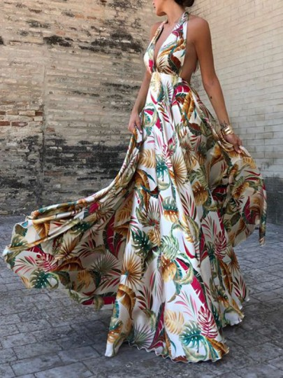 White Floral Print Halter Neck Backless Party Maxi Dress