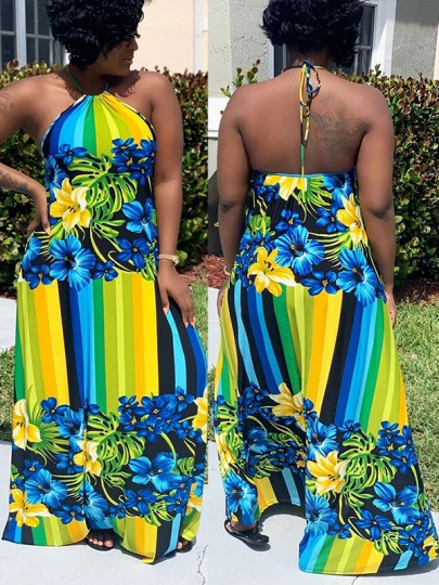 Green Floral And Leaves Print Halter Neck Backless Big Swing Flowy Maxi Dress