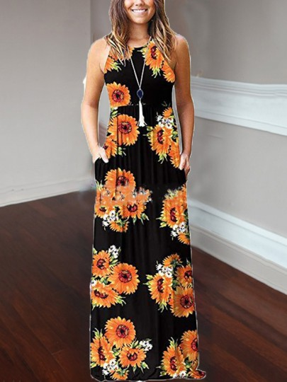 Yellow Sunflower Print Pockets Loose Round Neck Casual Women Bohemian Maxi Dress