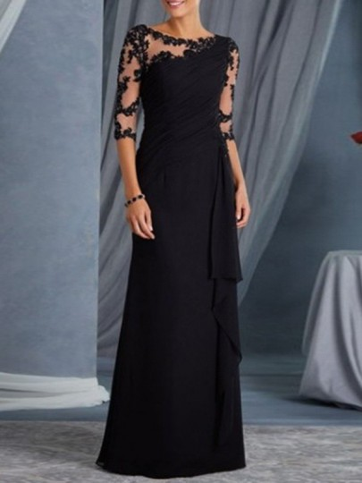 Maxi dress abito da ballo con balze eleganti in pizzo nero