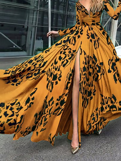 Yellow Floral Print V-neck Long Sleeve Side Slit Big Swing Flowy Formal Vestido Maxi Dress
