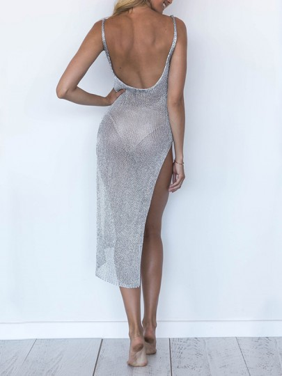 Silver Bright Wire Grenadine Backless Shoulder-Strap Round Neck Sleeveless Thigh High Double Side Slits Bikini Cover Up Beach Maxi Dress
