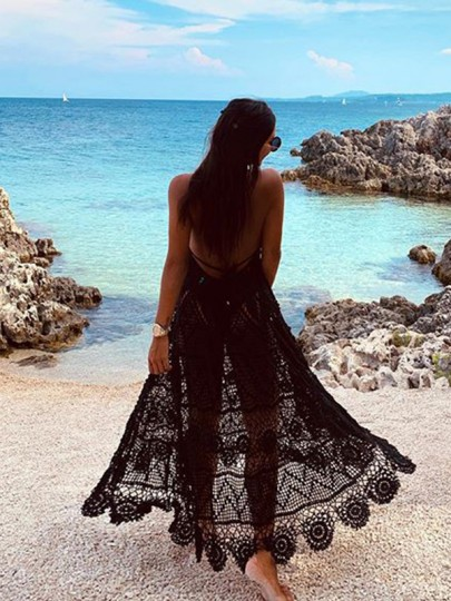 Black Lace Eyelet Embroidered Halter Neck Backless Flowy Sheer Beach Cover Up Maxi Dress