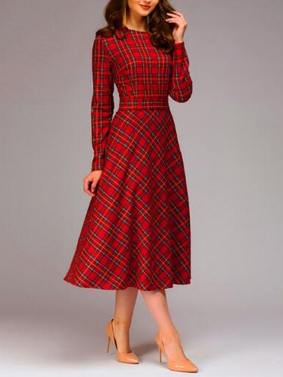 Red-Black Buffalo Plaid Draped Sashes Bowknot Flannel Elegant Christmas Party Maxi Dress