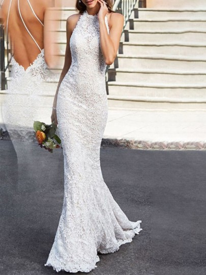 White Patchwork Lace Cut Out Off Shoulder Mermaid Wedding Prom Maxi Dress