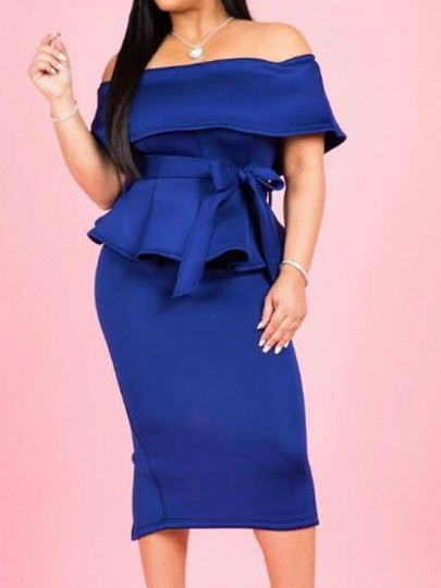 Royal Blue Ruffle Off Shoulder Sashes Peplum Two Piece Banquet Party Midi Dress