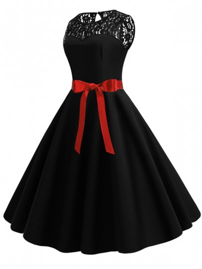 Black Patchwork Lace Sashes Big Swing A-Line Cocktail Party Midi Dress