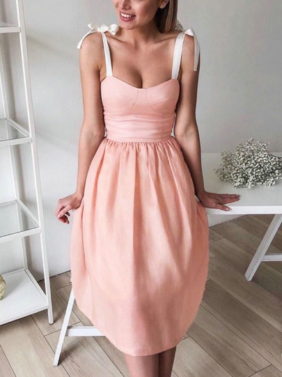 Pink Bow Pleated Lace-up Sleeveless Cocktail Party Midi Dress