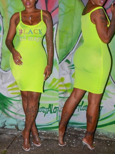 "Neon Green ""BLACK GIRL MAGIC"" Print U-neck Sleeveless Bodycon Clubwear Hot Midi Dress"