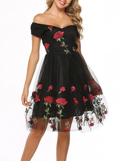 Black Patchwork Grenadine Rose Embroidered Print V-neck Cap Sleeve Elegant Mexico Midi Dress