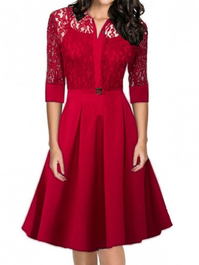 Red Lace A Line V Neck Elbow Sleeve Homecoming Party Elegant Midi Dress