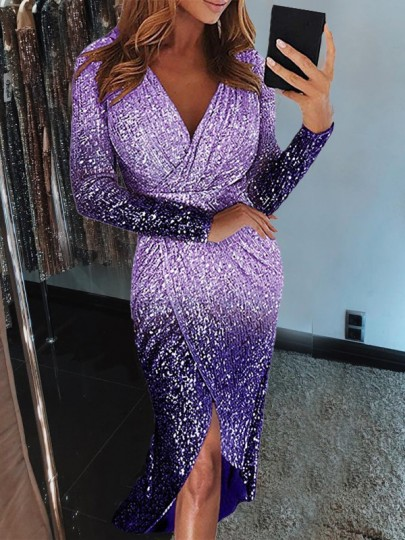 Purple Gradient Color Sequin Glitter V-neck Long Sleeve Slit Midi Dress