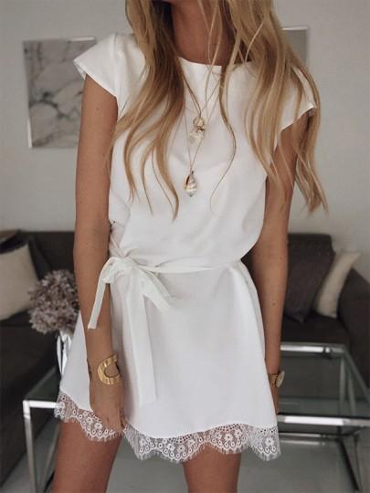 Mini abito pizzo girocollo elegante bianco