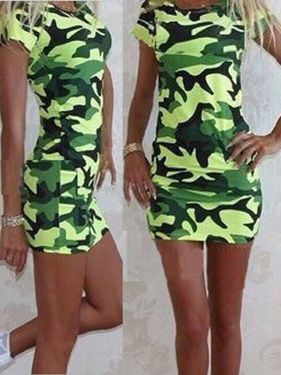 Green Print Going out Comfy Fashion One Piece mini dress