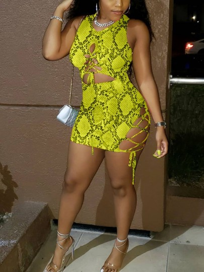 Yellow Snakeskin Pattern Lace-up Cut Out Bodycon Party Clubwear Mini Dress