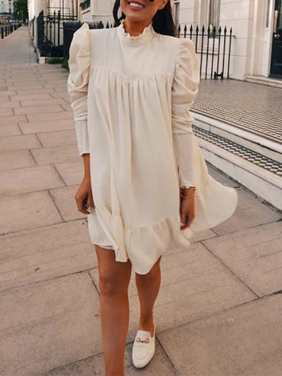 Robe courte col haut manches longues mode blanc