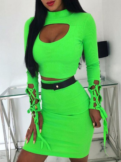 Neon Green Cut Out Lace-up Two Piece Band Collar Casual Bodycon Mini Dress