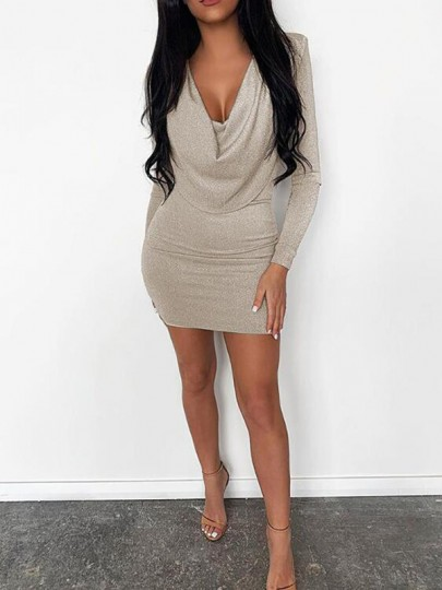 Apricot Bright Wire Draped Cowl Neck Long Sleeve NYE Sparkly Bodycon Mini Dress