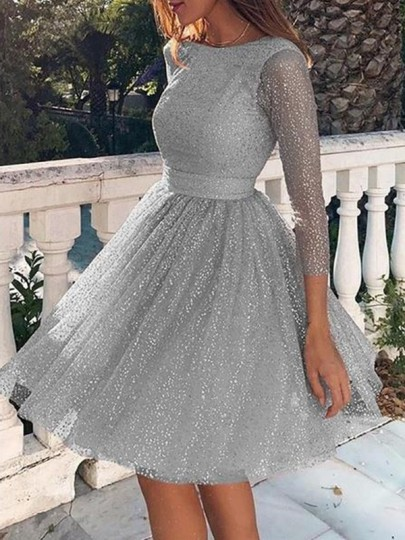 Grey Bright Wire Backless Bodycon Glitter Sparkly Party Mini Dress