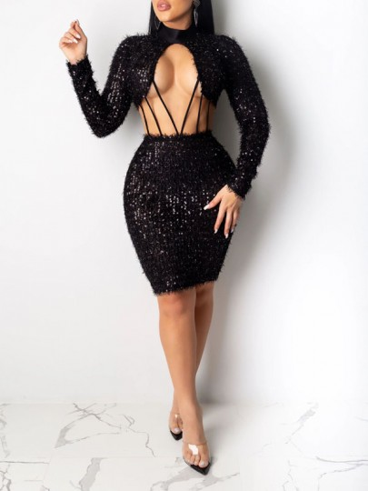 Black Patchwork Sequin Fuzzy Cut Out Bodycon Sparkly Glitter Birthday Party Mini Dress
