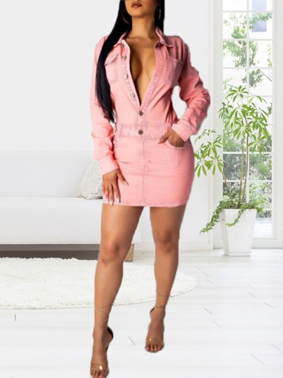 Pink Pockets Single Breasted Turndown Collar V-neck Long Sleeve Denim Casual Mini Dress