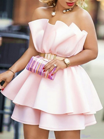 Pink Zipper Patchwork Layers Of Ruffle Bandeau Sleeveless Backless Evening Party Bridesmaid Prom Mini Dress