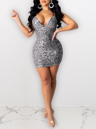 Black Sequin Shoulder-Strap V-neck Hip Bodycon Glitter Sparkly Birthday Party Mini Dress