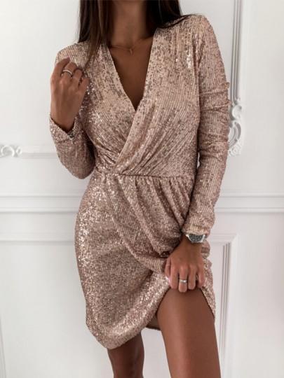 Mini-robe brillante paillette irrégulière croisé v-cou manches longues élégant nouvel an champagne
