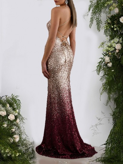 Burgundy Gradient Color Sequin Shoulder-Strap Drawstring Backless V-neck Sleeveless Mermaid Ball Gown Prom Maxi Dress