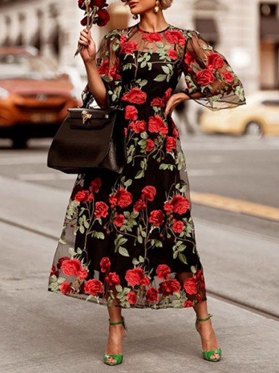Black Patchwork Grenadine Rose Embroidery Print Round Neck Elbow Sleeve Two Piece Work Maxi Dress