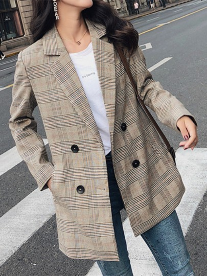 Khaki Plaid Pockets Double Breasted Tailored Collar Long Sleeve Fashion Suit