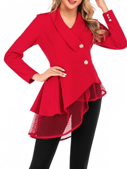 Red Patchwork Grenadine Buttons Pleated Irregular V-neck Elegant Suit