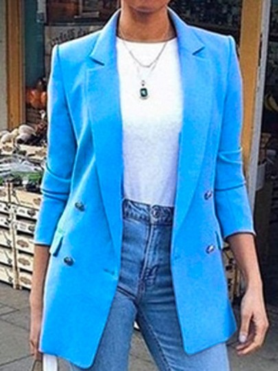 Light Blue Double Breasted Tailored Collar Casual Suit Blazer Coat