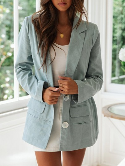 Green Patchwork Pockets Buttons V-neck Fashion Suit