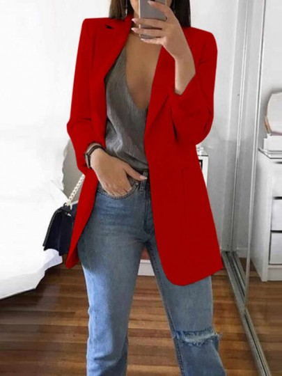 Red Pockets Tailored Collar Long Sleeve Plus Size Casual Work Blazer Suit