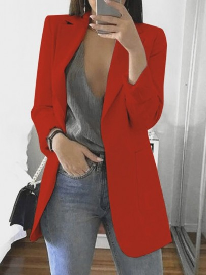 Red Pockets Tailored Collar Long Sleeve Casual Work Blazer Suit
